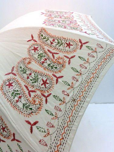 日傘・長傘−婦人UVカット麻綿豪華刺繍手開きパラソル