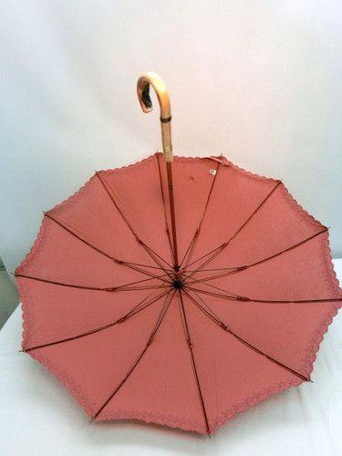 日傘・長傘−婦人UVカット12本骨麻混裾レース日傘