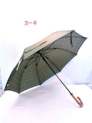 雨傘・長傘-紳士甲州産先染め両面生地グラスファイバー骨ジャンプ傘