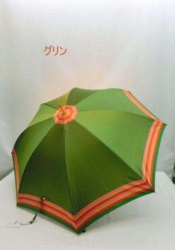 雨傘・長傘-婦人甲州産先染め朱子格子軽量ジャンプ雨傘