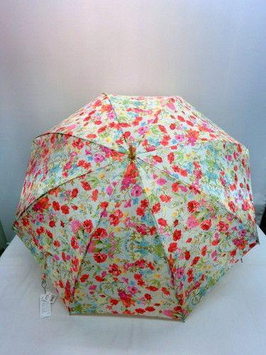 雨傘・長傘−婦人サテンジャガード花畑柄日本製軽量金骨ジャンプ雨傘