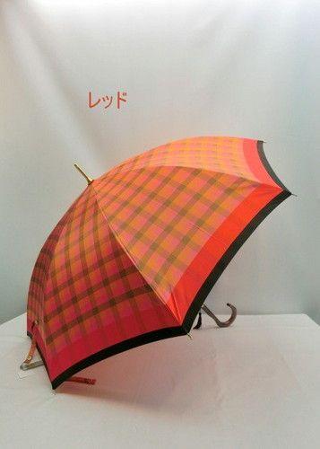 雨傘・長傘-婦人甲州産先染め朱子格子織生地軽量金骨ジャンプ雨傘