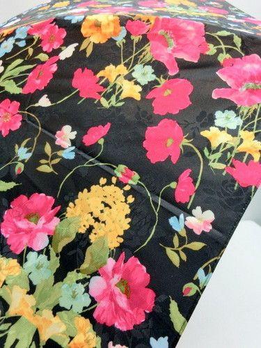 雨傘・折畳傘−婦人ポリエステルサテンジャガード花畑柄日本製軽量コンパクト骨折傘