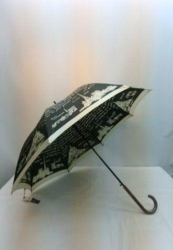 雨傘・長傘-婦人日本製つやつやサテン生地・モンサンミッシェル・エッフェル塔・凱旋門JP傘