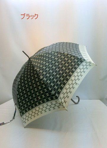 雨傘・長傘-婦人日本製つやつやサテン生地・象形文字柄ジャンプ傘
