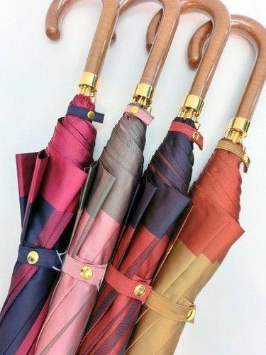 雨傘・長傘-婦人甲州織先染中ボーダー軽量金骨ジャンプ日本製雨傘