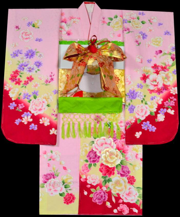 七五三 着物 7歳 フルセット 女の子 7才 七才 七歳 女児 7歳着物 振袖 セット ブランドFrom KYOTO 7歳着物フルセット 薔薇柄 ピンク [新品新作]:KIDSKIMONOYUUKA