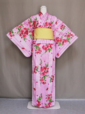 レディース浴衣 大きいサイズ トールサイズ 女物ゆかた お仕立上り 浴衣単品 ピンク・縞 送料無料 C0214-04