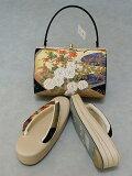 草履・バッグセット白梅ブランド日本製Lサイズフォーマル用正絹帯地使用送料無料D8518-05