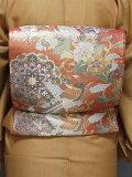 袋帯正絹西陣袋帯朱色と金振袖用お仕立て済送料無料F402