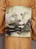 丸帯フォーマル用帯金地に松と竹お仕立て済み江戸褄訪問着リバーシブル送料無料S5363-01