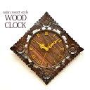 ソノクリンウッド 木彫り掛け時計 フラワー4輪 バリ雑貨 ア...