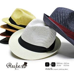 メンズ ハット ゴルフ 帽子 ゴルフハット ゴルフ帽子 ペーパーハット ストローハット 麦わら帽子 XL 大きいサイズ フリーサイズ レディース 中折れ 麦わら 春 夏 涼しい 通気性 アジャスター 調節可 RUBEN ルーベン MIDDLE BRIM PAPER HAT