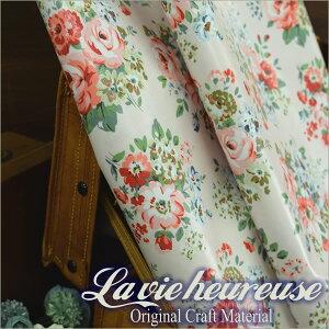 【Lavieheureuse-ラビウルーズ-】オイルクロス野バラダブル幅50cmカット販売バッグ鞄小物の製作に