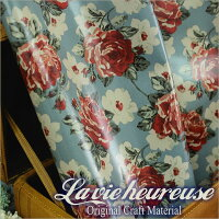 【Lavieheureuse-ラビウルーズ-】オイルクロスローズダブル幅50cmカット販売バッグ鞄小物の製作に