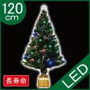 クリスマスツリー グリーンファイバーツリー120cm(マルチLED24球付) ヌードツリー