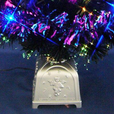 クリスマスツリーブラックファイバーツリーセット90cm