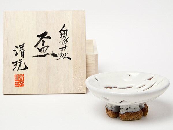 【送料無料】萩焼 山根清玩 鬼萩 割高台平盃 お茶のふじい・藤井茶舗