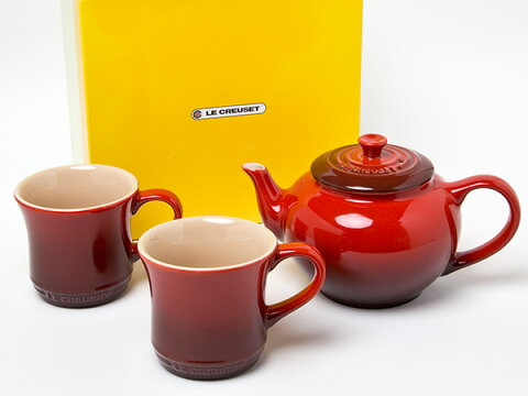 【送料無料】LE CREUSET ル・クルーゼ ティーポットフィルター付き マグカップペア(レッド)お茶のふじい・藤井茶舗