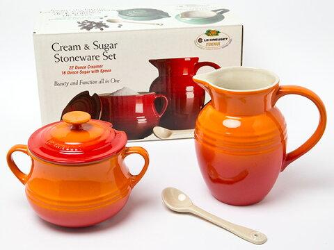 【送料無料】LE CREUSET ル・クルーゼ Cream&Sugarクリーマー&シュガーポット スプーン付(オレンジ)お茶のふじい・藤井茶舗