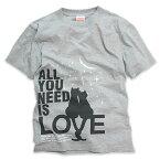 猫 ねこ Tシャツ ALL YOU NEED IS LOVE ( グレー ) | ネコ 猫柄 猫雑貨 | メンズ レディース 半袖 トップス | かわいい おしゃれ 大人 ペアルック お揃い プレゼント | 大きいサイズ | SCOPY / スコーピー