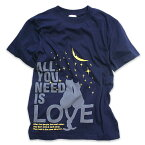 猫 ねこ Tシャツ ALL YOU NEED IS LOVE ( ネイビー ) | ネコ 猫柄 猫雑貨 | メンズ レディース 半袖 トップス | かわいい おしゃれ 大人 ペアルック お揃い プレゼント | 大きいサイズ | SCOPY / スコーピー
