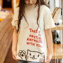 猫 ねこ Tシャツ Griper ( ナチュラル ) | ネコ 猫柄 猫雑貨 | メンズ レディース 半袖 トップス | かわいい おしゃれ 大人 ペアルック お揃い プレゼント | 大きいサイズ | SCOPY / スコーピー