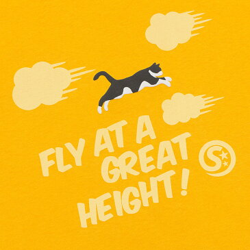 猫 ねこ Tシャツ FLY! ( ゆうひ ) | ネコ 猫柄 猫雑貨 | メンズ レディース 半袖 トップス | かわいい おしゃれ 大人 ペアルック お揃い プレゼント | 大きいサイズ | SCOPY / スコーピー