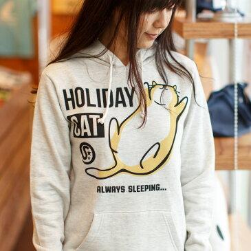 猫 ねこ パーカー HOLIDAY CAT ( オートミール ) | ネコ 猫柄 猫雑貨 | メンズ レディース かわいい おしゃれ 大人 ペアルック お揃い プレゼント | 大きいサイズ | SCOPY / スコーピー