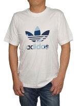 【中古】アディダスadidasオリジナルス半袖Tシャツ白青DX3676トレフィルメンズ夏物ホワイトブルー