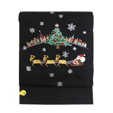 名古屋帯 正絹 黒 クリスマス 「クリスマス トナカイ」 ブラック 京玉響 西陣織