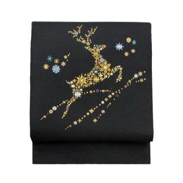 名古屋帯 正絹 黒 雪 クリスマス 仕立済 仕立て上がり名古屋帯「トナカイ」 ブラック 京玉響 西陣織