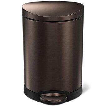 simplehuman セミラウンドステップカン 6L ペダル式 フタ付き 小さめ 小型 トイレ 洗面室 おしゃれなミニサイズゴミ箱! シンプルヒューマン 正規品 1年間メーカー保証付き ゴミ箱 6リットル CW2038 ブラウン