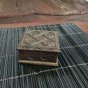 バリ彫刻 アジアンウッドボックス B 小 10×10 【アクセサリーボックス 小物入れ 木箱 ハコ アジアン雑貨 バリ雑貨】