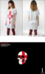 セントジョージクロススカルTシャツワンピース-TheGhostWriter-tgw041opt-GR-半袖パンクロックTシャツドクロ髑髏イングランド英国十字旗カジュアルかっこいいレディースガールズグレーMサイズ【RCP】