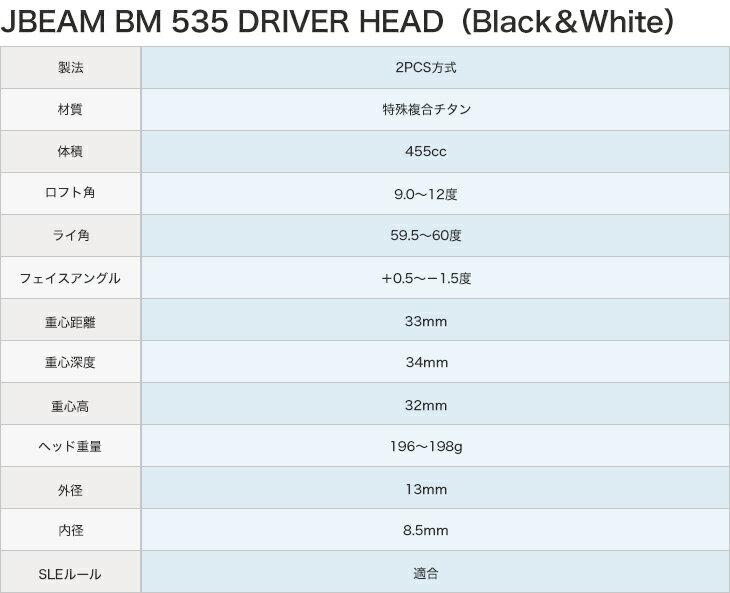 【カスタムドライバー】【JBEAM(ジェービーム) BM-535 ドライバー】【9°/9.5°/10°/10.5°/11°/11.5°/12°】【三菱レイヨン Diamana W シリーズ(ディアマナ) シャフト】