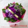 誕生日ギフトに青いカーネーションムーンダストのそのまま飾れる花束(スタンディングブーケ/ブケットLサイズ)の贈り物。お祝いやお見舞いに上品なパープルはお供えにも送料無料で即日発送いたします
