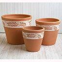 サフィ E23D 3点セット  ≪植木鉢/陶器/白柄入りテラコッタ/素焼き鉢≫