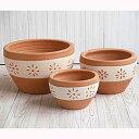 サフィ E26H 花柄 3点セット  ≪植木鉢/陶器/白柄入りテラコッタ/素焼き鉢≫