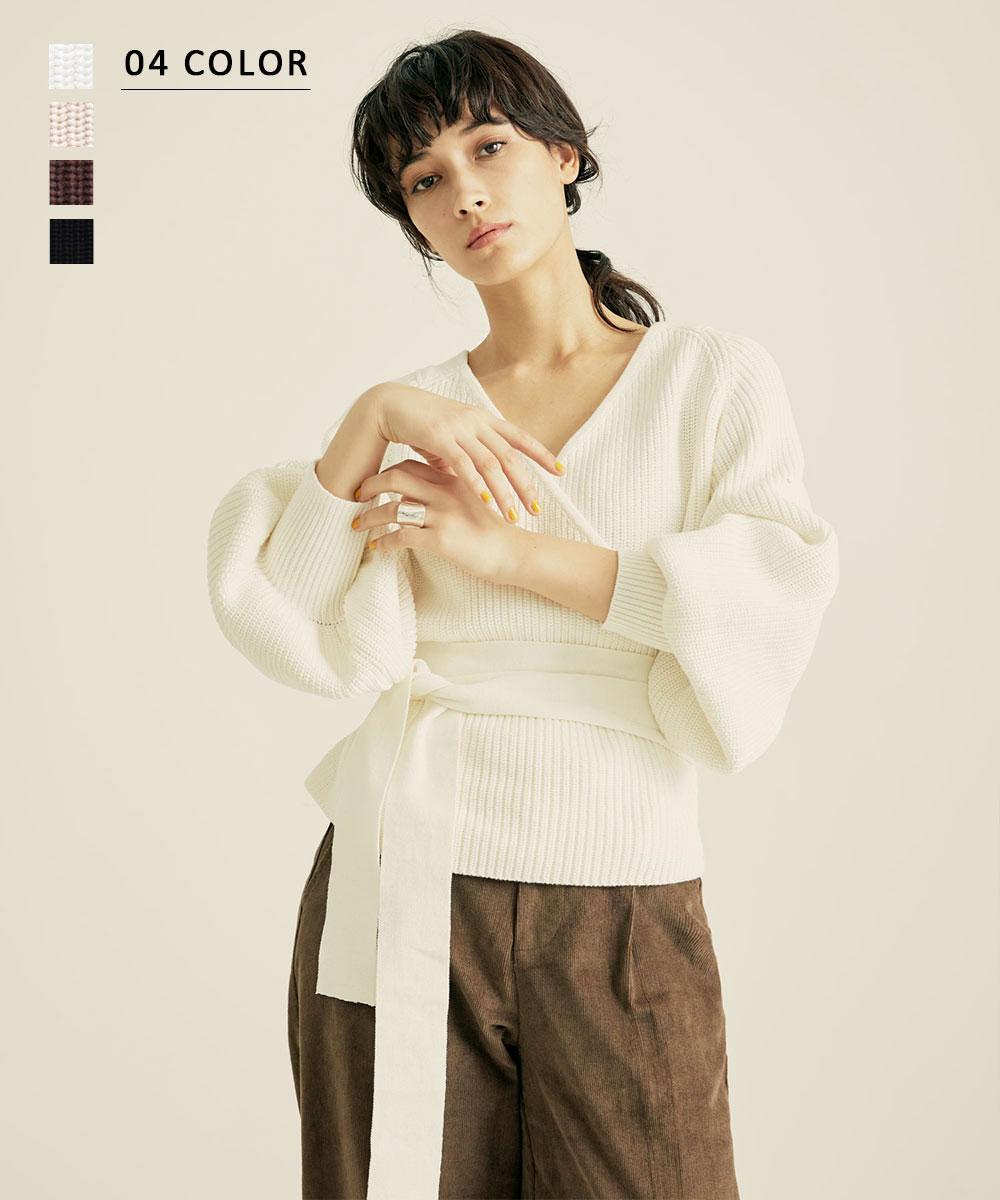 RIBOU 2019AW ショート丈カシュクールニット