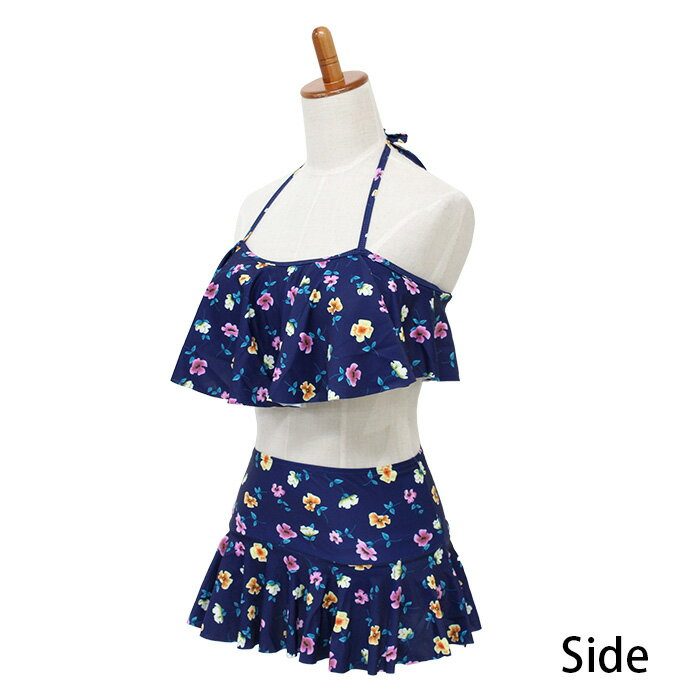 水着体型カバーレディースフレアバンドゥビキニ送料無料MLXLショートパンツワイヤー花柄可愛いおしゃれスカパンスカートママ水着