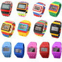 NEW カラー入荷 カラフル ウォッチ 腕時計 LED ユニセックス メンズ レディース 20色 スポーツ キッズ用...