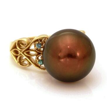 タヒチ南洋黒蝶真珠(チョコレート)×カラーチェンジガーネットリングK18SG #11 サイズ変更承ります 誕生石 1月 6月