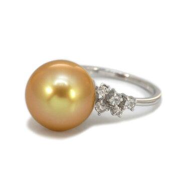 12mm奄美大島産ゴールド南洋真珠×ダイヤモンドリング「グリッター」K18WG サイズ変更承ります 誕生石 4月 6月