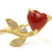 ハート赤珊瑚×ローズカットダイヤリング「リーフライン」