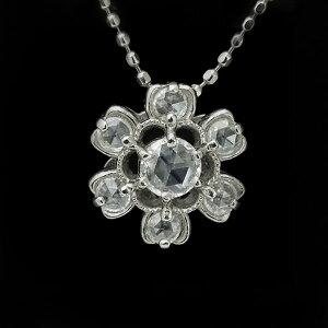 ペンダント、ローズカットダイヤモンド、ダイヤモンド、ホワイトゴールド、K181本の蝋燭の光を...