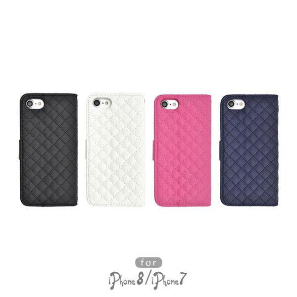 AppleiPhone8iPhone7スマホケース手帳型キルティングレザー格子柄四角正方形スクエア革皮スマホカバーカードポケット