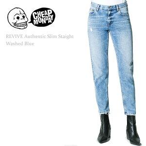 【SALE】Cheap Monday(チープマンデー)REVIVE AUTHENTIC SLIM STRAIGHT Washed Blue デニム ストレート テイパード ウォッシュデニム
