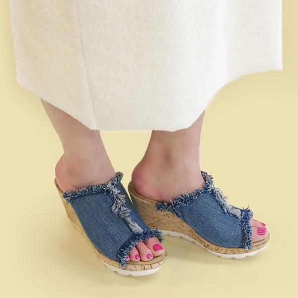 【MINNETONKA/ミネトンカ】YORK/ヨーク デニム ウェッジソール サンダル 厚底 ビーチサンダル レディース 靴 73301