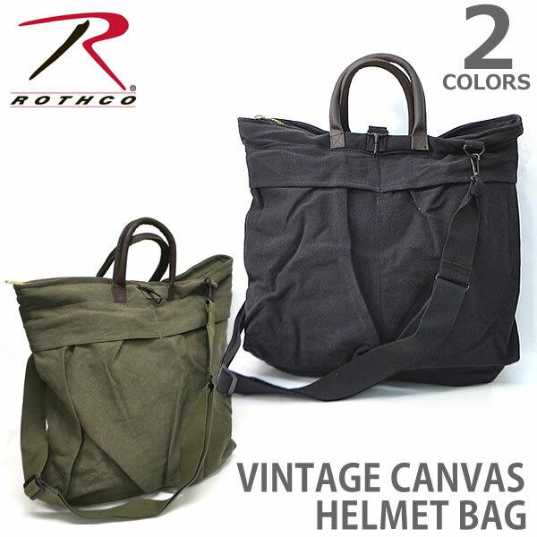 男女兼用バッグ, ショルダーバッグ・メッセンジャーバッグ  RothcoVINTAGE CANVAS HELMET BAGS WLEATHER HANDLES 2429 BLACKOLIVE DRAB